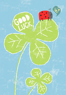 Ladybird & Four Leaf Clover Good Luck Card