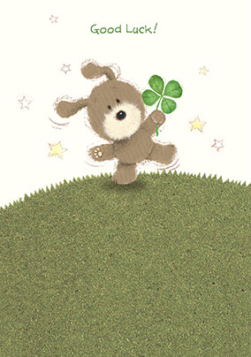 Cute Dog and Clover Good Luck Card
