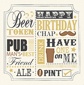 Beer Token Birthday Card