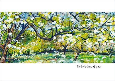 Green Orchard Greeting Card