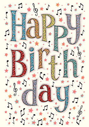 Music themed birthday cards funky pigeon happy birthday card bookmarktalkfo Image collections