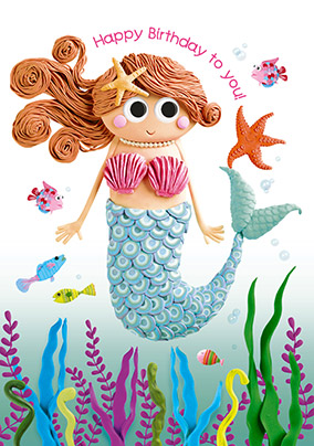 Birthday cards for girls funky pigeon happy birthday mermaid card bookmarktalkfo Images
