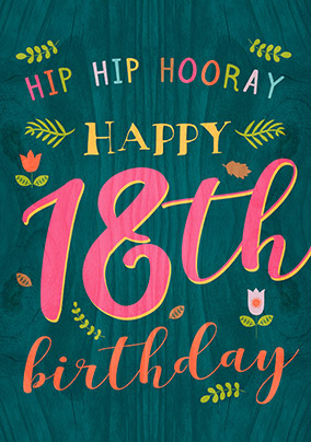 18th birthday cards buy send funky pigeon paper wood birthday card 18th birthday hip hip hooray bookmarktalkfo Images