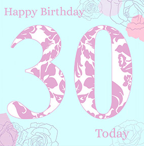 30th Birthday Card Pink Flowers