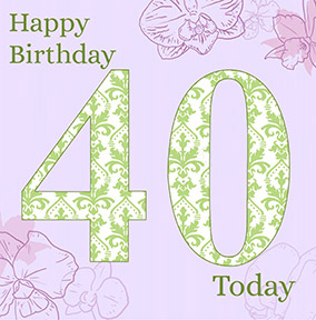 40th Birthday Card Paisley Pattern