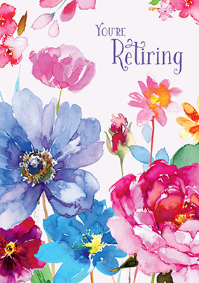 Pretty Floral Watercolour Retirement Congratulations Card