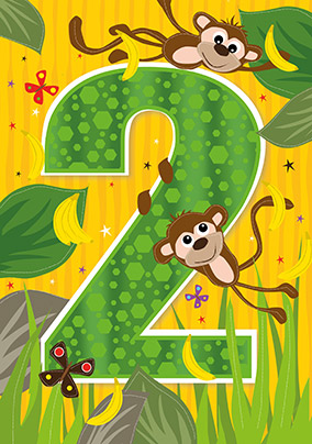 2nd birthday cards perfect for kids funky pigeon 2nd birthday monkey card bookmarktalkfo Choice Image