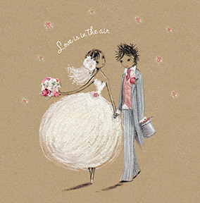 Chalk Bride and Groom Wedding Card
