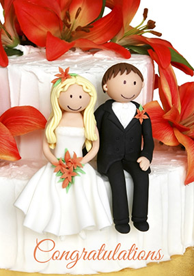 Congratulations Wedding Card - Wedding Cake Figures