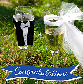 Wedding Congratulations Card - Champagne Glasses