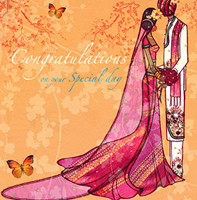 Wedding Congratulations Card - Pink Sari & Orange Butterflies