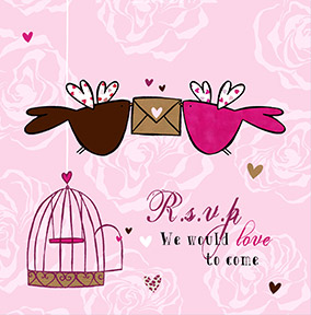 Wedding RSVP Love Birds Card