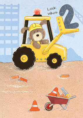 Digger 2nd Birthday Card - Lots of Woof