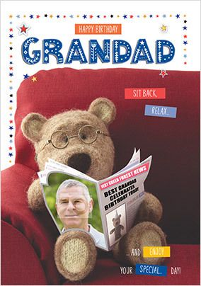 new teddy bear relaxing theme male Happy Birthday Grandfather greetings card
