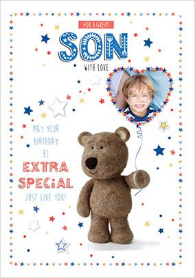 Barley Bear - Great Son Photo Birthday Card