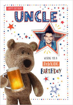 Barley Bear - Uncle Photo Birthday Card