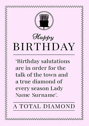 A Total Diamond personalised Birthday Card