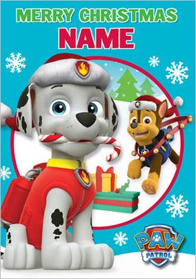 Paw Patrol Christmas.Paw Patrol Son Personalised Christmas Card