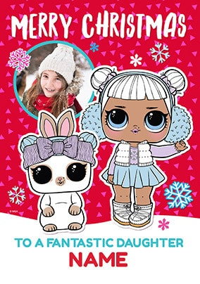 LOL Dolls Daughter Photo Christmas Card