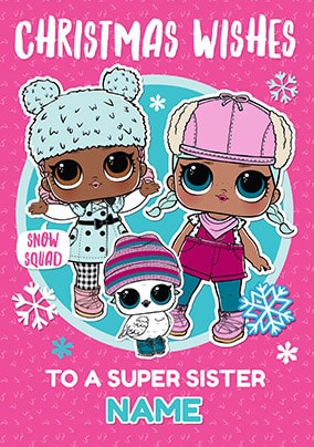 LOL Dolls Sister Personalised Christmas Card