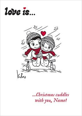 Love Is...Christmas Cuddles Personalised Card