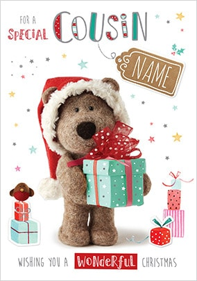 Barley Bear Cousin at Christmas Personalised Card