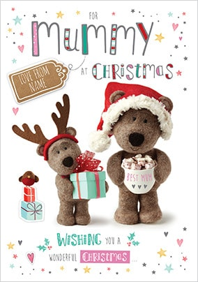 Barley Bear Mummy Personalised Christmas Card