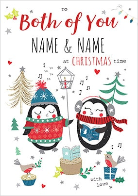 Both of You Penguins Personalised Christmas Card