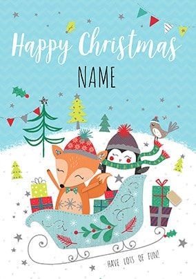 Happy Christmas Fox and Penguin Personalised Card