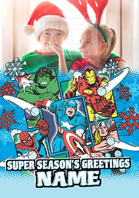 Avengers Marvel Comics Christmas Photo Card