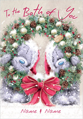 me to you softly drawn both of you wreath - Photo Xmas Cards