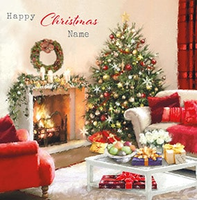 Christmas Living Room Personalised Card
