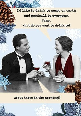 Drink To Peace Personalised Christmas Card