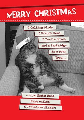 Christmas Dinner Fat Cat Personalised Card