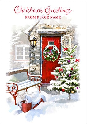 Christmas Greetings From Personalised Town Card