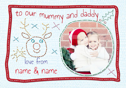 Kiddy Stitch Christmas Cards - Mummy & Daddy at Christmas