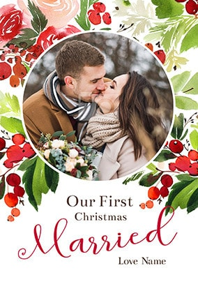 First Christmas Married Photo Card