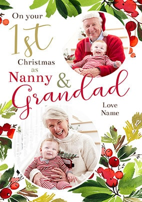 1st Christmas as Grandparents Photo Card