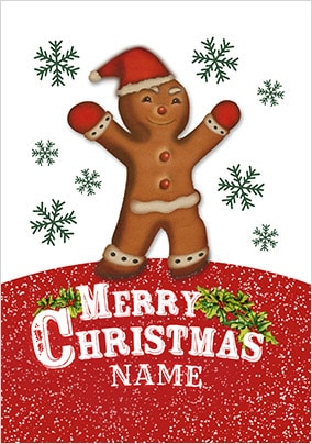 Gingerbread Man Personalised Christmas Card