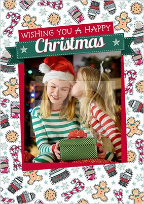 Happy Christmas Festive Pattern Photo Card