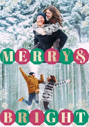 Merry and Bright Double Photo Christmas Card