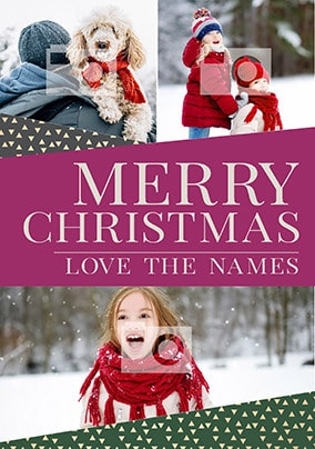 Merry Christmas Three Photo Family Card