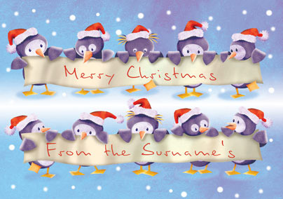 Christmas Penguins Landscape Banner