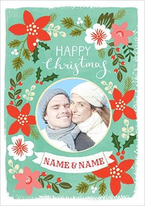 Happy Christmas Floral Photo Card