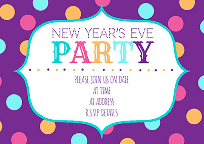 Polka Dot New Year Party Invitation Advocate Funky Pigeon