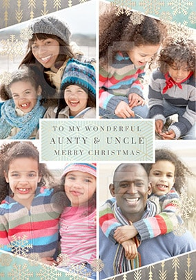 Wonderful Aunty & Uncle Photo Upload Christmas Card - All that Shimmers