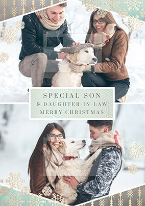 Special Son & Daughter-in-Law Upload Christmas Card - All that Shimmers