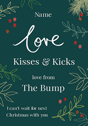 Kisses & Kicks from the Bump Personalised Card