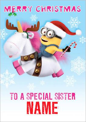 minion unicorn reindeer christmas card for sister