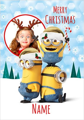 Despicable Me Photo Upload Personalised Christmas Card
